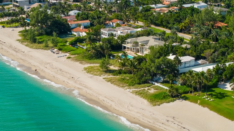 drone aerial luxury waterfront home Miami real estate agents