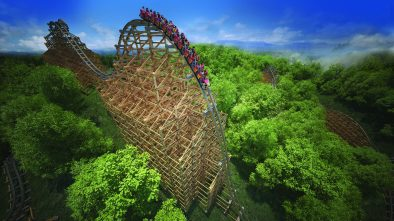 Dollywood drone light show theme park roller coaster lighting rod