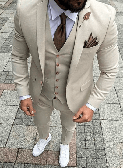 THE DROP  Bespoke suits made for you Skinny fit offwhite threepiece suit