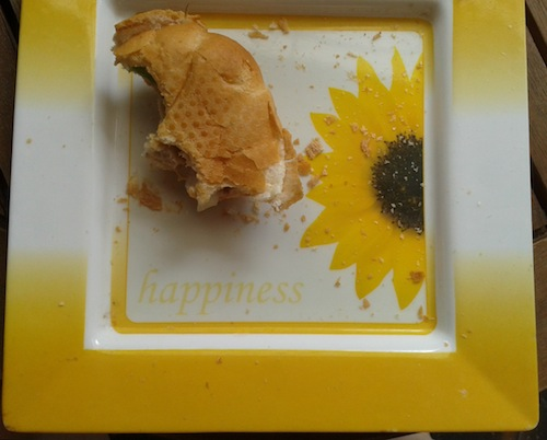 I found happiness under my lunch on Friday. Proving that you do find happiness where you least expect it.
