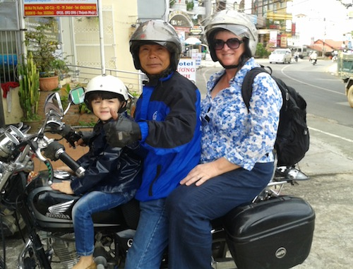 Even though she's not smiling here, Miss M loved our Dalat Easy Rider tour. And you can see the bike was big enough for all of us, even big old post-pregnancy sized me.