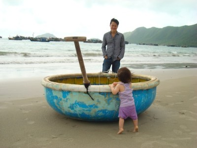 On the beach on Con Dao Island for Miss M's first birthday