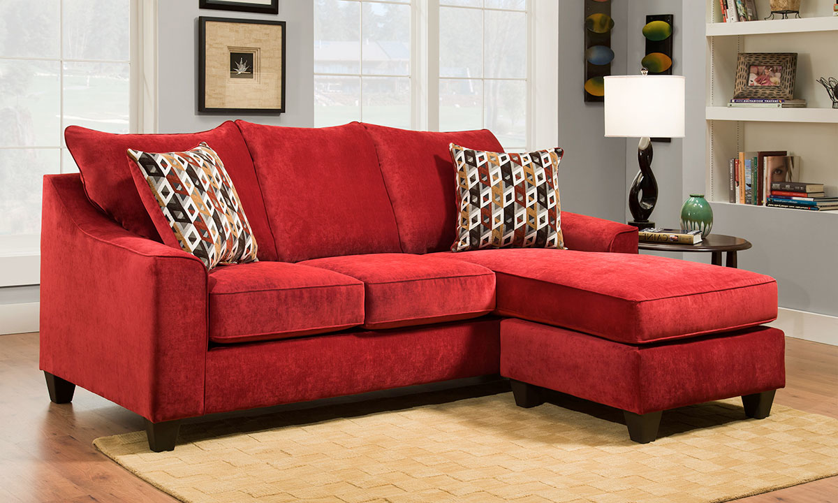 A very good price for this type of folding sofa. Handmade American 90-inch Red Sofa with Reversible Chaise ...