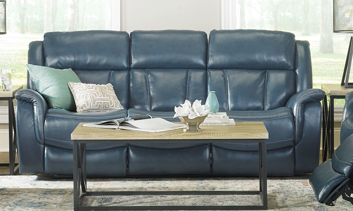 Trojan Blue Top Grain Leather Power Sofa With Power Headrests