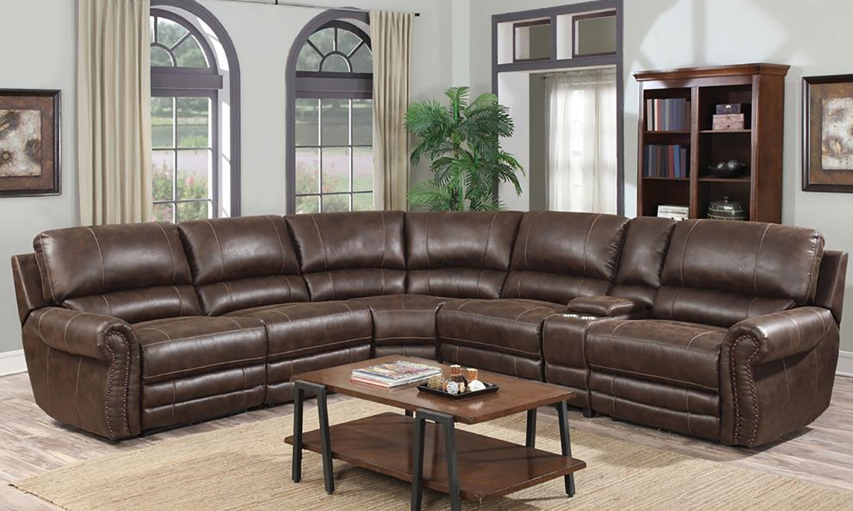el paso top grain leather triple reclining storage sectional