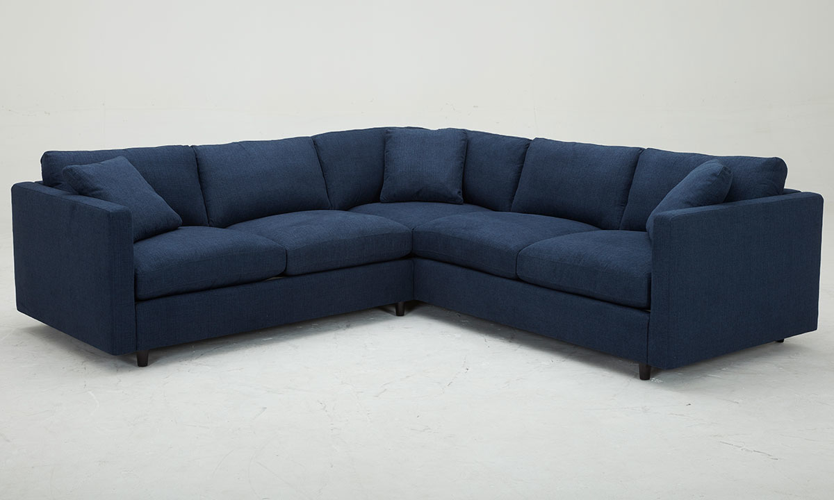 feather down navy fabric sectional