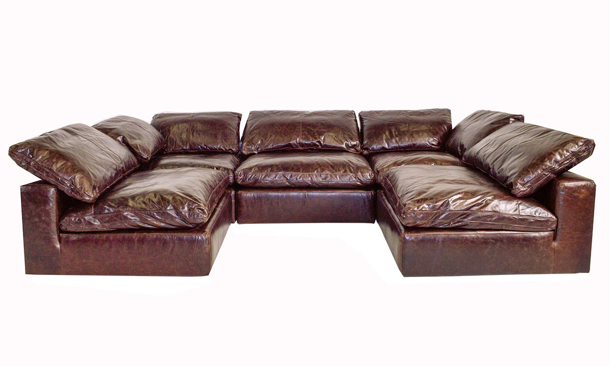 Draper Luxury Modular Top Grain Leather 5 Piece Sectional