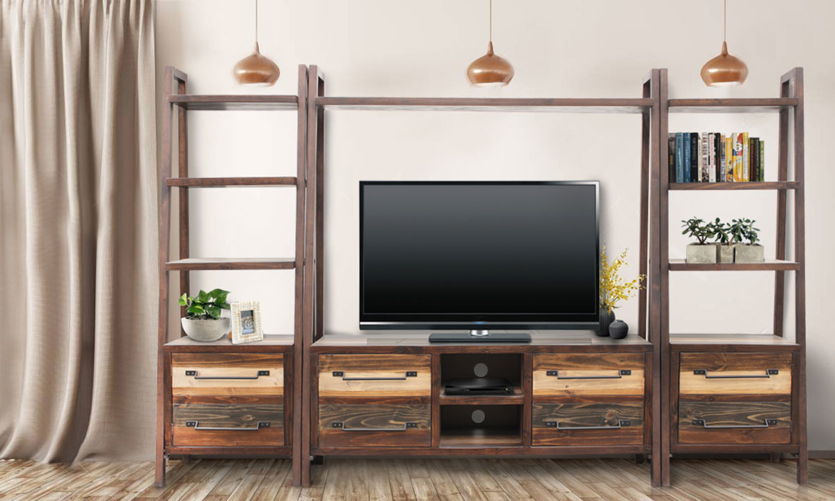 Urban Roads Newport 3 Piece 101 Media Wall Unit The Dump Luxe Furniture Outlet
