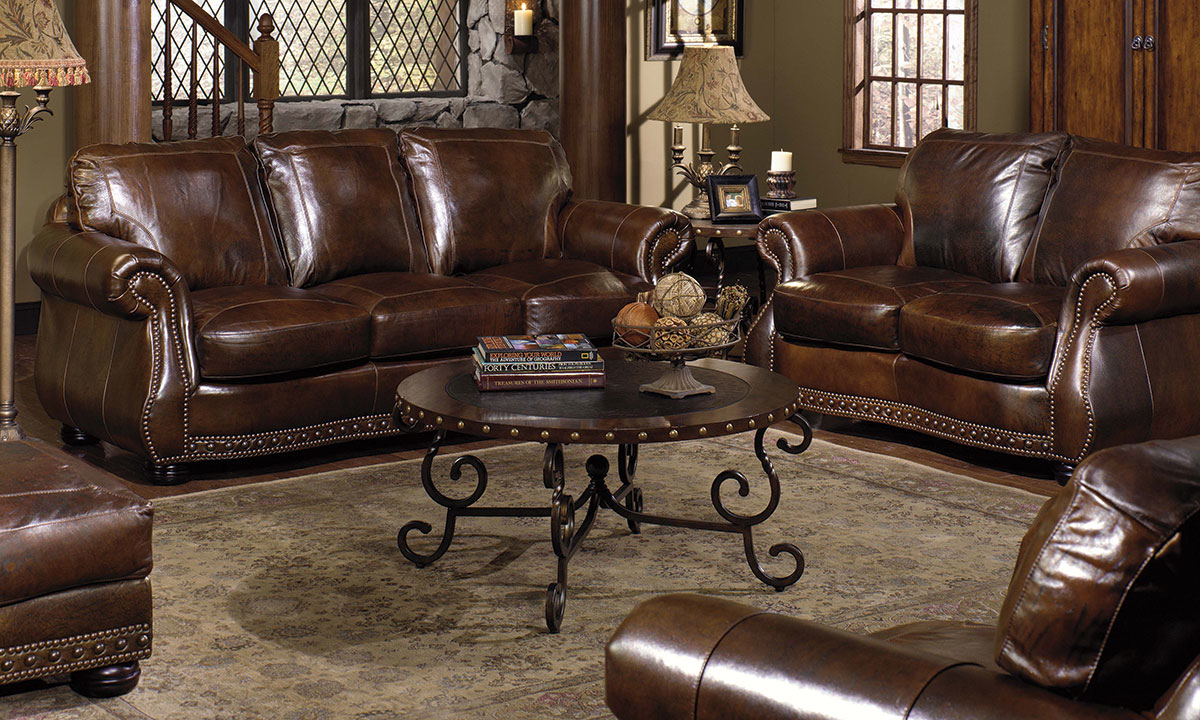Rocky Mountain Leather Cowboy Brown 4 Piece Living Set The Dump Luxe Furniture Outlet