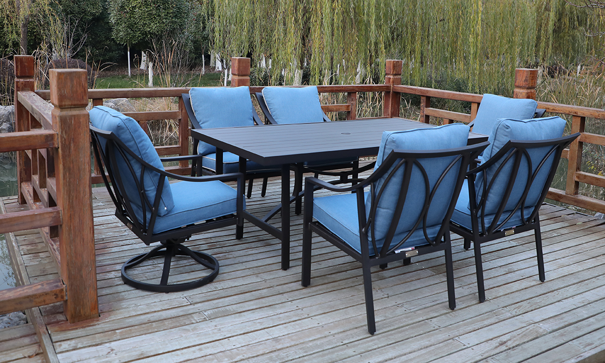 Gathercraft Genoa Outdoor Dining 7 Piece Set The Dump Luxe Furniture Outlet