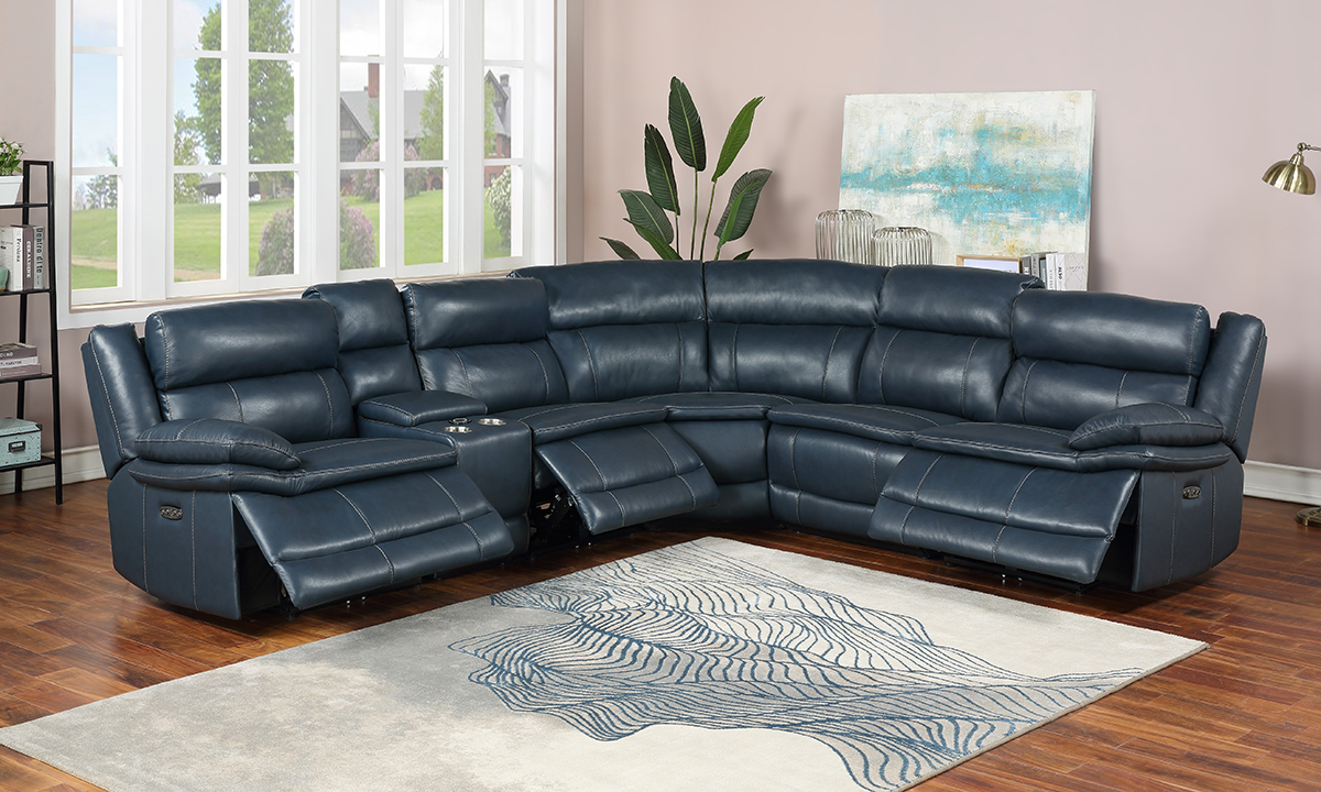 top grain blue leather power reclining sectional with power headrests