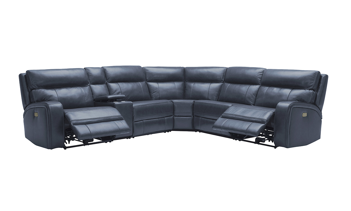 blue leather match power reclining 6 piece sectional with power headrests