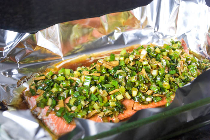 Salmon with Ginger Scallion Sauce