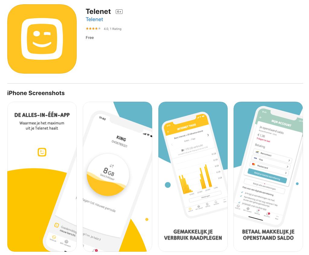 Screenshot of the Telenet app in the app store