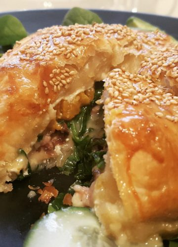 Oozing stuffed camembert in pastry crust