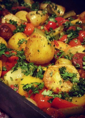 Spicy Chorizo and potato tray bake