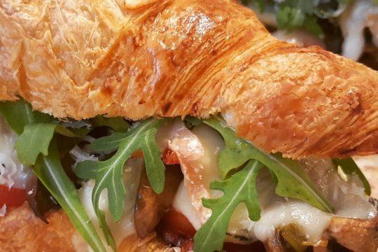 deep filled croissant with Chorizo mushroom and taleggio