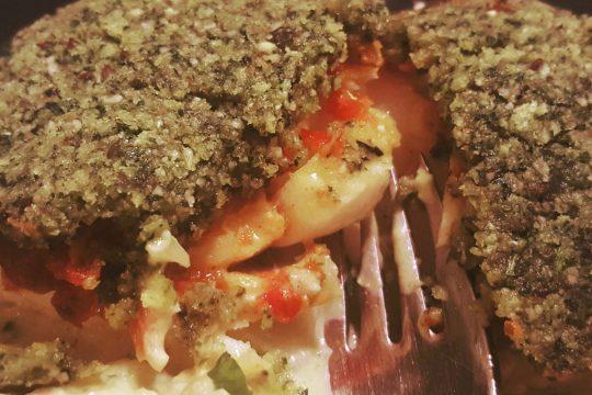 herb crusted fish on Celeriac spaghetti