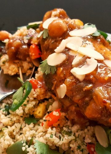 sweet and spicy chicken tagine and rainbow couscous
