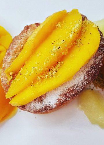 mango and lime friand hedgehog and sorbet