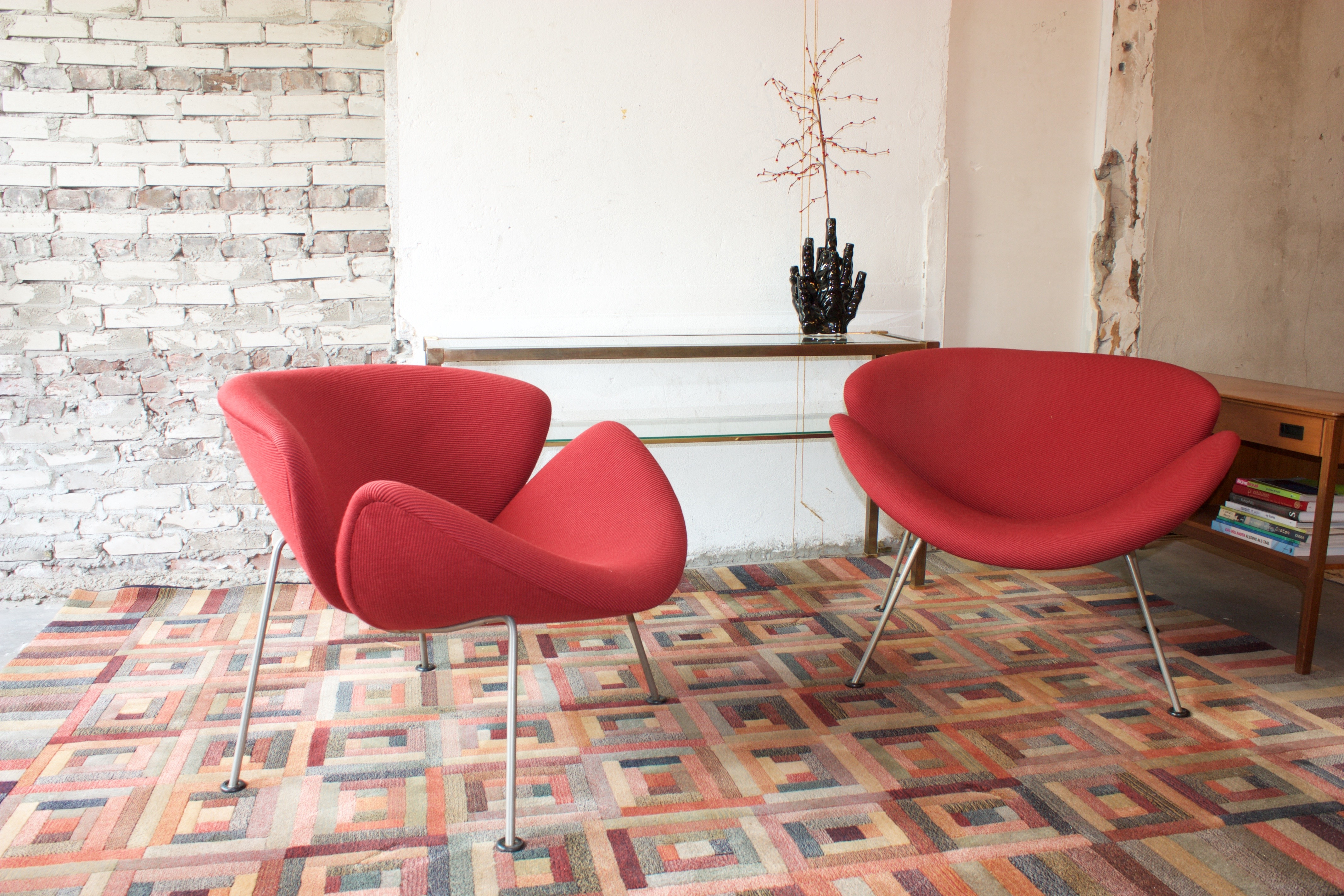 orange slice chair folding massage products chairs artifort red the dutch villa set of first edition designed by pierre paulin in 1960