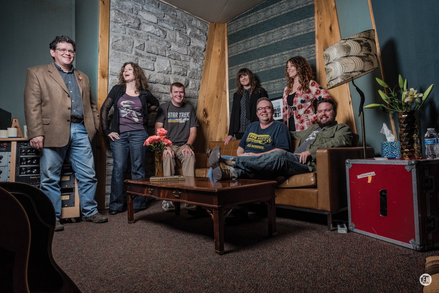WXNA board members relax at Grand Victor Sound. L-R: Randy Fox, Ashley Crownover, Jonathan Grigsby, Laura Powers, Pete Wilson, Heather Lose, Roger Blanton. Photo by Eric England.