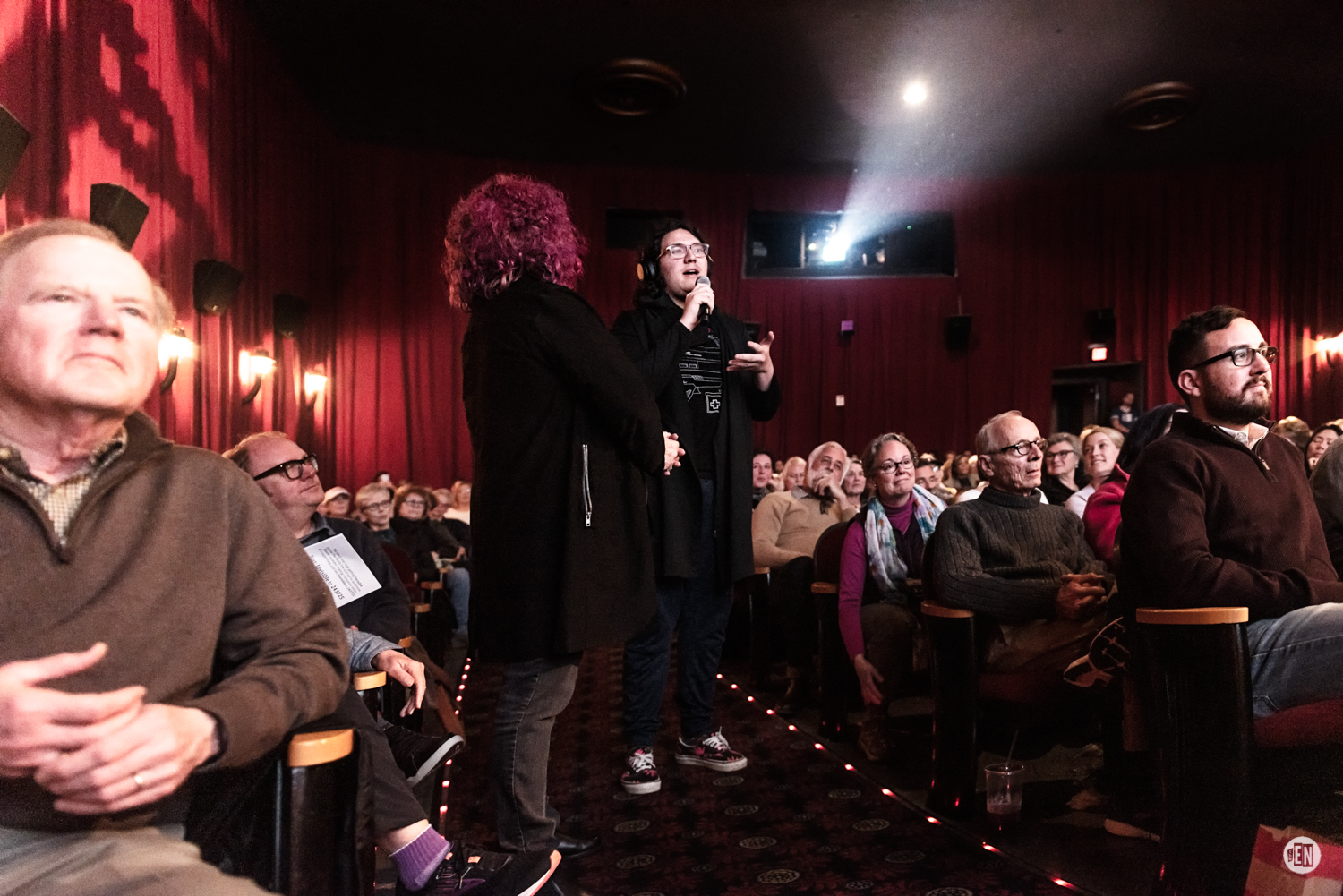 Audience Q&A at Belcourt Theater for the premier of 'Invisible'. Photo by Eric England.