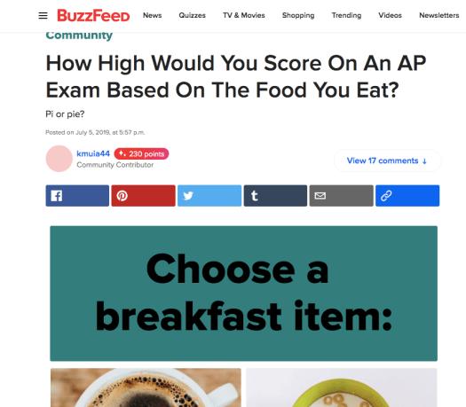 Quiz de Buzzfeed de contenu interactif