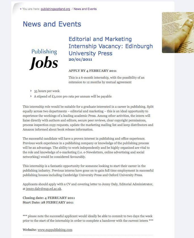edinburgh jobs editorial marketing internship at. Black Bedroom Furniture Sets. Home Design Ideas