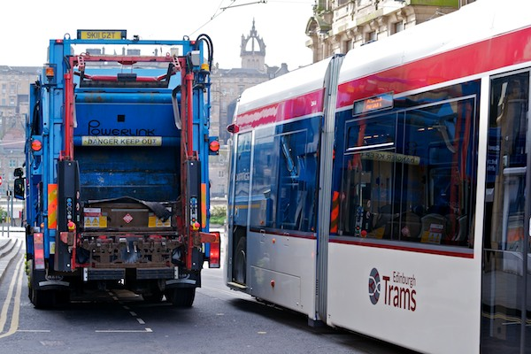 Tram and Refuse Lorry