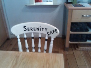 Named chair at Serenity Cafe