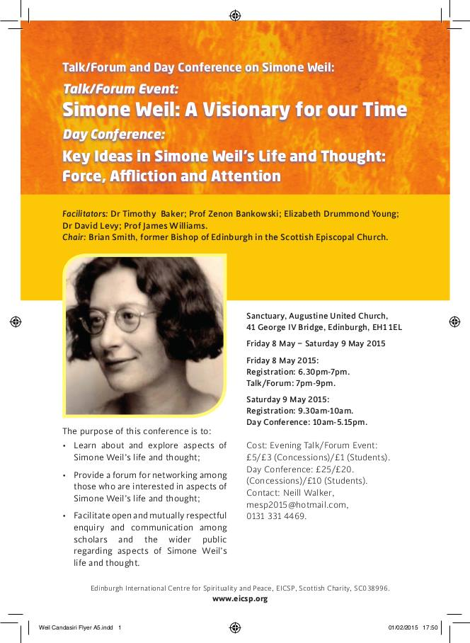 simone weil essay on affliction 2018-1-11  why is it that simone weil,  of the reflections that compose the bulk of love in the void my favorite weil essay will always be the love of god and affliction.