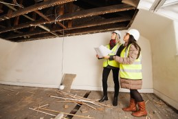 Lynne Muirson (left) and Nadine Robb of Grant Property's new interior design service, inspect a property which is to be refurbished