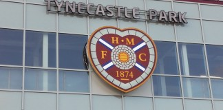 The front of the new main stand at Hearts Tynecastle Park