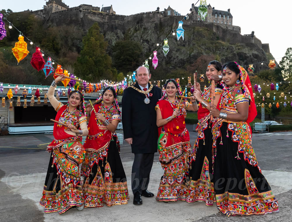 Lord Provost and dancers pose by the Ross Bandstand at Diwali Launch