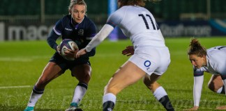 Chloe Rollie in action against England in the 2018 Six Nations