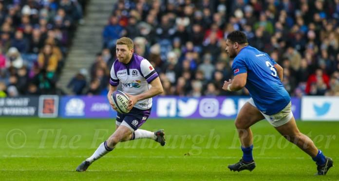 Finn Russell in action against Samoa