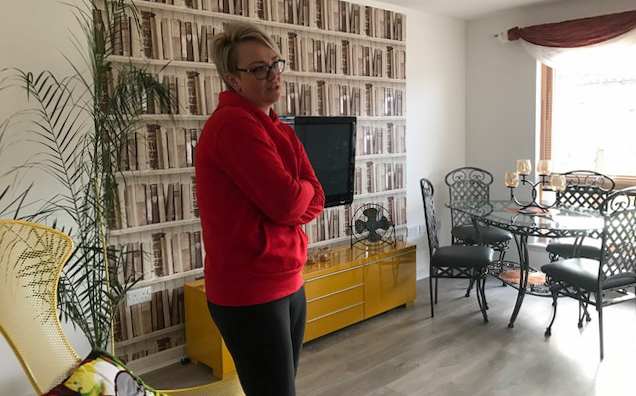 Eva in her sitting room