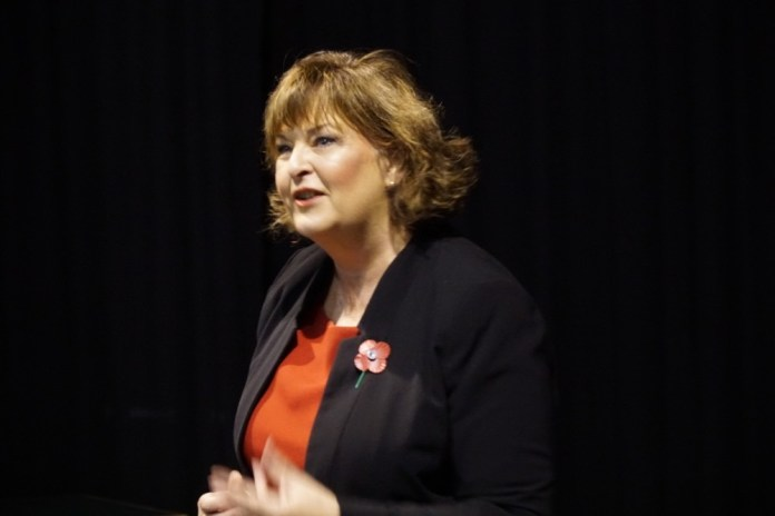 Fiona Hyslop addressing the invited audience at St Bride's