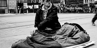 Homeless man in the street