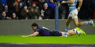 Sean Maitland slides in for his 11th Scotland try