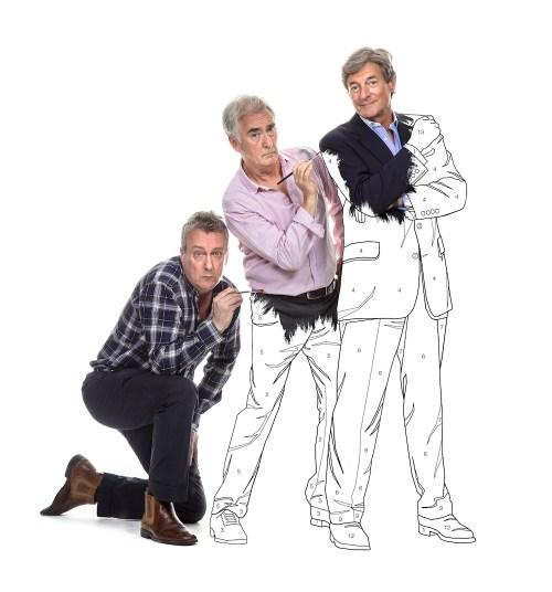 Three actors on white background