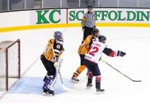 Ice hockey players near the net