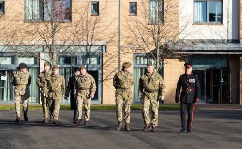 HRH The Duke of York KG accompanied by officers