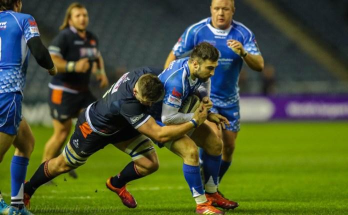 Edinburgh player crashes into Dragons player