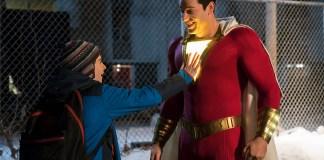 Actor Zachary Levi in character as the superhero Shazam
