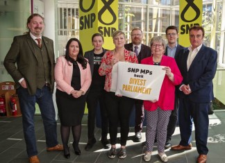 SNP MPs LtoR Chris Law, Angela Crawley, Mhairi Black, Hannah Bardell, Martyn Day, Marion Fellows, David Linden and TommySheppard