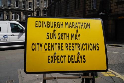 Edinburgh Marathon road closure sign
