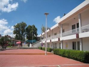 Inside the school.