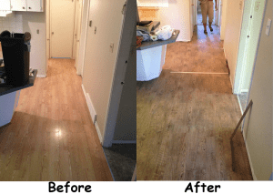 Before and After shots of new flooring in Rental Property